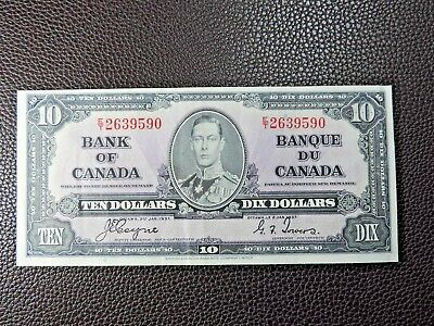 1937 $10 Dollar Bank of Canada Note E/T2639590 Coyne Towers EF Grade Bill