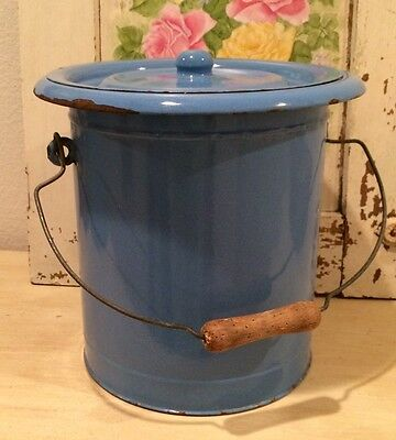 Charming and Rare Vintage French Provence Blue Enameled Bucket with Lid & Handle