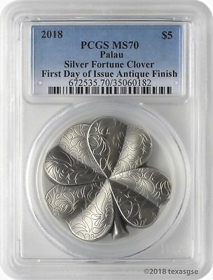 2018 $5 Palau Silver Fortune Clover Antique 1oz .999 Silver Coin PCGS MS70 FD