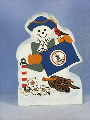 VIRGINIA Snowman Shelf Sitter State Flag Dogwood Cardinal CAT'S MEOW 2003 #RA891