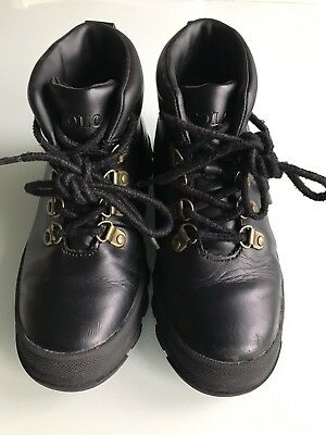 polo Ralph Lauren Kids HAINSWORTH smooth pull up black leather boots Size 13 US
