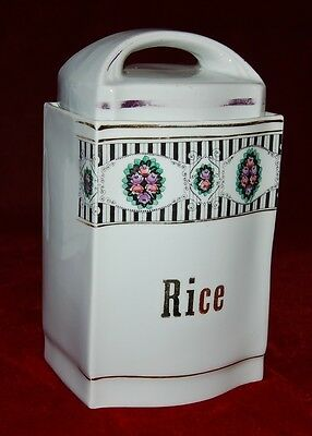 "Old Canister ""RICE"" MADE IN BAVARIA GERMANY Makes Great Kitchen Restaurant Decor"