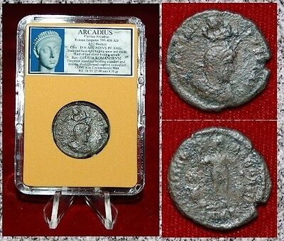Ancient Roman Empire Coin Of ARCADIUS Emperor Standing Captive Seated On Ground