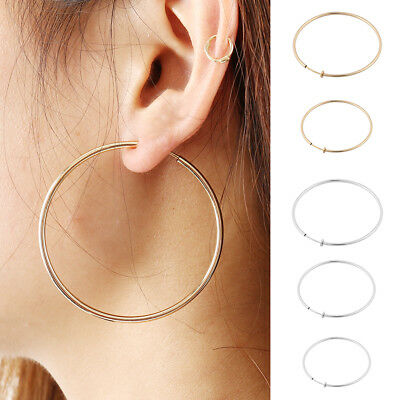 Clip On Thick Hoop Earrings Clips Gold Silver Tone