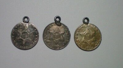 1852, 1853 And 1858 Three Cent Silver / Mounted Pendants