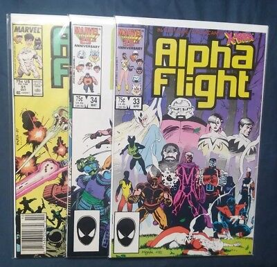 Alpha Flight #33, 34, 51 [1983, Marvel] NM * 1st Lady Deathstrike