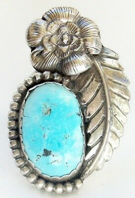 Large Heavy Choice Navajo Natural Turquoise Sterling Ring- Size 11.5 18+ Grams