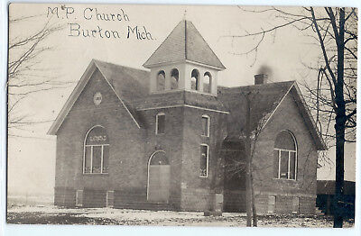 1911 Methodist Protestant Church, Burton, Michigan, real photo postcard RPPC old