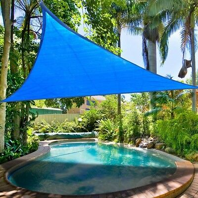 6 Degree Lower! 11.5Ft Triangle Sun Shade Sail Blue Canopy Patio Outdoor Garden