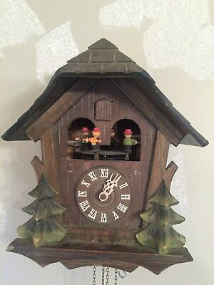 West German Musical Chalet with Dancers Cuckoo Clock for Parts Or Repair