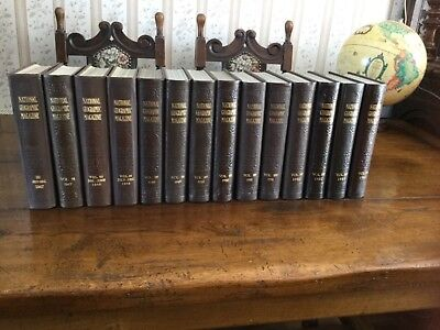 National Geographic Magazines 1940s - 1950s Set of 14 volumes.