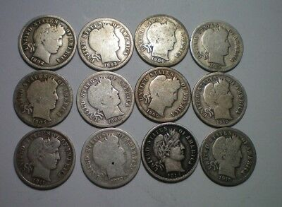 1892 To 1915 Better Barber Dime Lot / 12 Coins // Includes 1913 S, 1893 S,1900 O