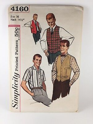 Vintage Sewing Pattern 1960s Mens Shirt And Vest Simplicity 4160 Size 36 N-14.5