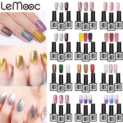 3Pcs LEMOOC 8ml Vernis à Ongles Semi-permanent Nail Art UV Gel Polish Manucure