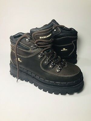 Vintage 90s Skechers Jammers 7.5 Brown Leather Platform Hiking Shoes Boots Sneak