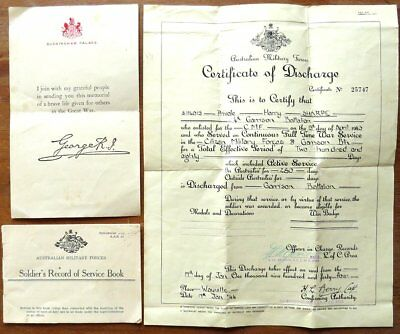 Ww2 Certificate Of Discharge - Soldiers Record Of Service - Death Note