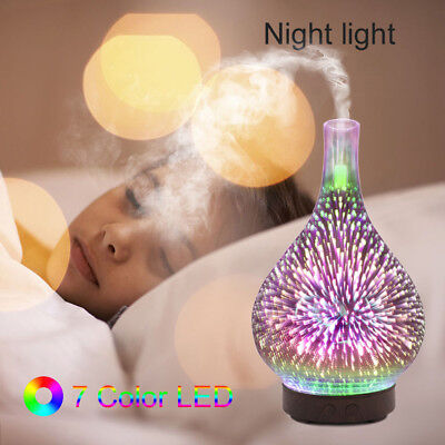7 Colour Changing LED Glass Lights Night Lights Humidifier Aroma Air Diffuser