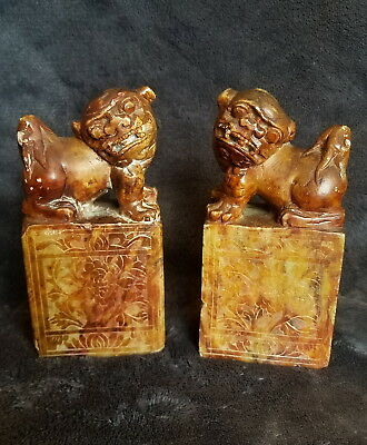 Antique Chinese Soapstone Seal Pair - Foo Dogs Lions Flowers Chrysanthemums