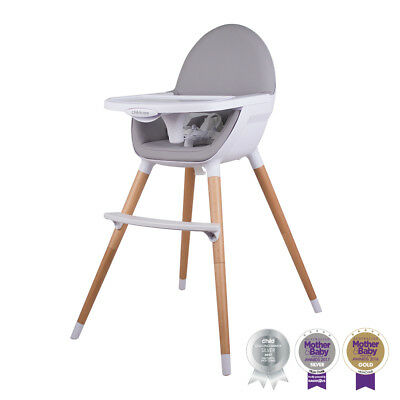 New! Childcare Pod Timber Baby High Chair Feeding WOODEN Highchair Free Postage