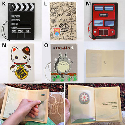 3D PVC Cool Cartoon Passport Holder Men Women Travel Wallet Card Case Cover