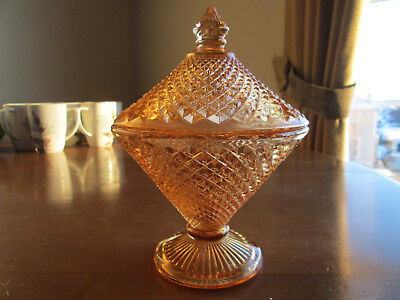 Indiana Depression Glass Amber Diamond Point Lidded Footed Candy Dish