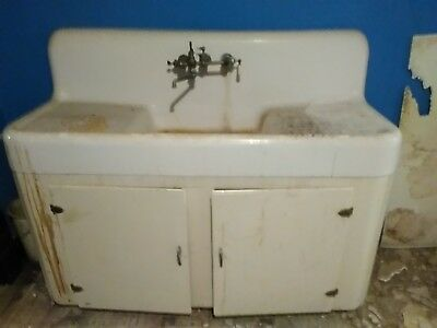 "Antique Cast Iron Kitchen Sink Faucet Cabinet 60W x 23D x 48""H Pick up 45331 OH"