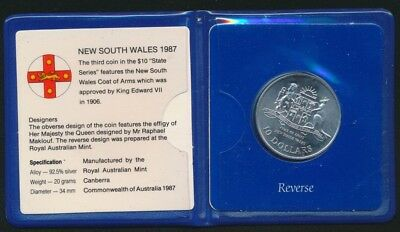 Australia 1987 $10 Sterling Silver UNC State Series - New South Wales