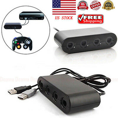 For GameCube Controller Adapter 4 port for nintendo Switch Wii U & PC USB TURBO