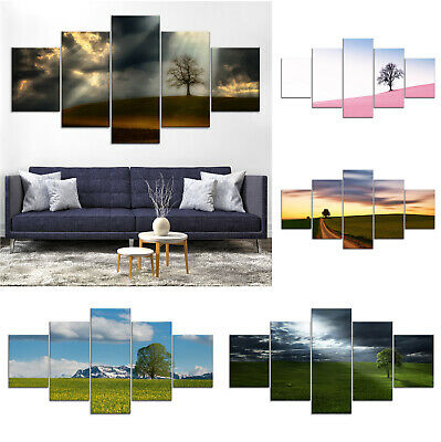 Lonely Tree Canvas Print Painting Framed Home Decor Wall Art Poster 5Pcs