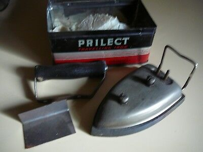 vintage prilect travel iron in tin box made in england