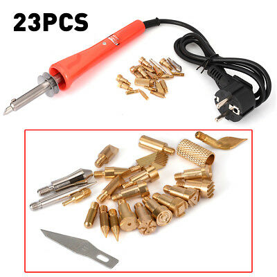 22V 30W Wood Burning Pen Pyrography Tool W/ 21 Piece Brass Soldering Tips Set