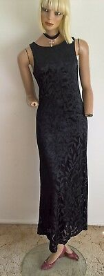 Vintage 90's Zoomin Leaf Patterned Velour Maxi Dress Size 10/S REDUCED TO CLEAR