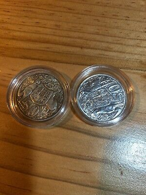 2 x 1966 Australian Round Fifty 50 Cent Coins, 80% Silver.