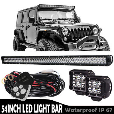 "54inch 312W LED Light Bar Spot Flood Combo Work Offroad+ Wiring VS 52"" 42"""