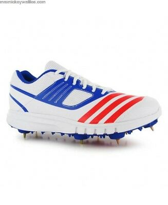 9c05b0ee638 ADIDAS JUNIOR HOWZAT FS V Cricket Spikes Shoes White Sports ...