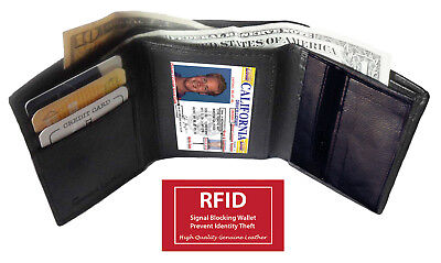 Rfid Blocking Mens Leather Trifold Wallet Id Credit Card Zip Coin Holder