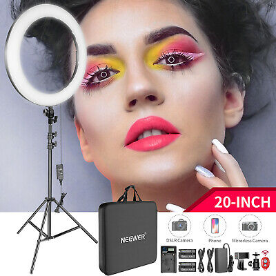 20-inch 44W Dimmable Bi-color LED Ring Light Kit w/ Light Stand for Photography