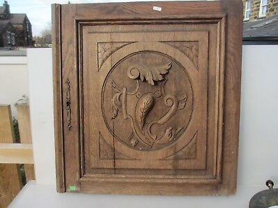 Victorian Carved Wooden Panel Plaque Door Vintage Antique French Old Wood Door
