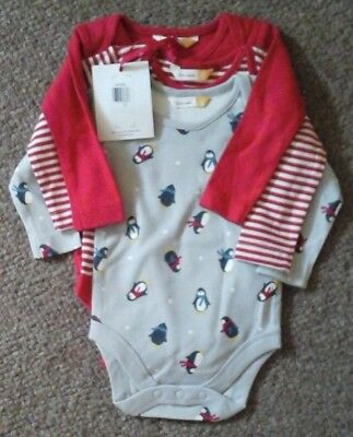 John Lewis Baby Long Sleeved Popper Vests 3 Pack Christmas 0-3 Mths 100% Cotton