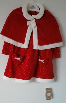 Baby Girls 3 Piece Christmas Red Dress Cape & Tights 6-9 Months Bnwt