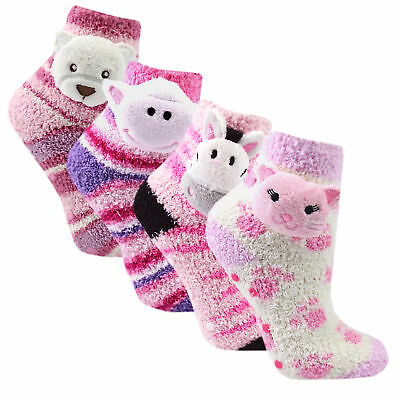 Girls Kids Soft Cute Anti-Slip Bed Socks 4 Pack Fluffy Comfy Cat Bear Grippers
