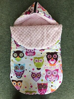 Pink White Colourful Owl Print Cosy Toes Pram Liner Foot Muff Warm Fleece
