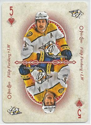2018-19 OPC PLAYING CARDS - 5 of HEARTS - FILIP FORSBERG - NASHVILLE PREDATORS