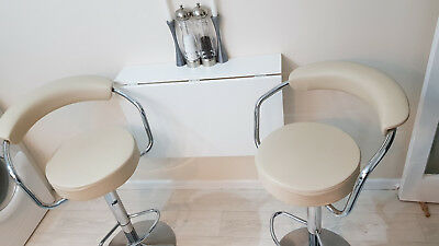 Set of 2 cream leather adjustable comfy stools + foldable table