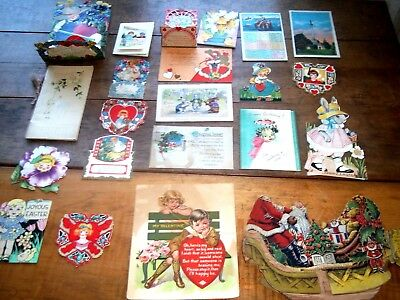 Lot 20+Vintage Greeting Cards VICTORIAN ART DECO Christmas, VALENTINE 1910s-30s