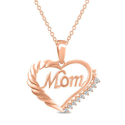Mom Heart Shape Round Diamond Pendant Necklace 14K Rose Gold Over 925 Silver