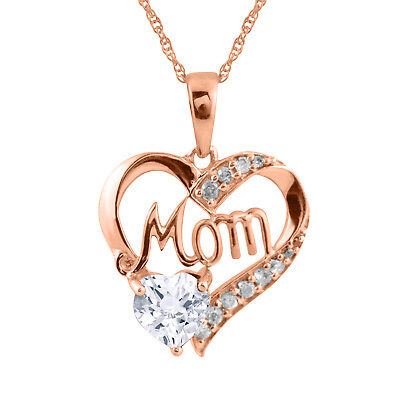 "14K Rose Gold Over 925 Sterling Silver Heart Shape Diamond Mom Pendant 18"" Chain"