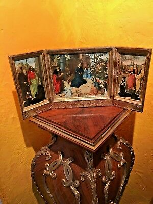 Religious Triptych 19th Century Depicting Birth of Jesus SUBMIT BEST OFFER!!!!!!