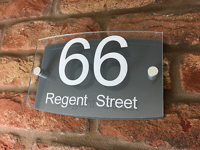 House Number Sign / Plaque. Modern Contemporary Grey & Clear Acrylic Curve