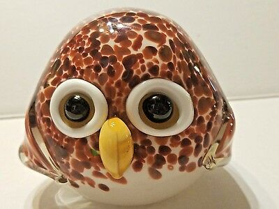 "Hand Blown Owl Bird Figurine Sculpture Statue White Amber Art Glass 4"" Tall"